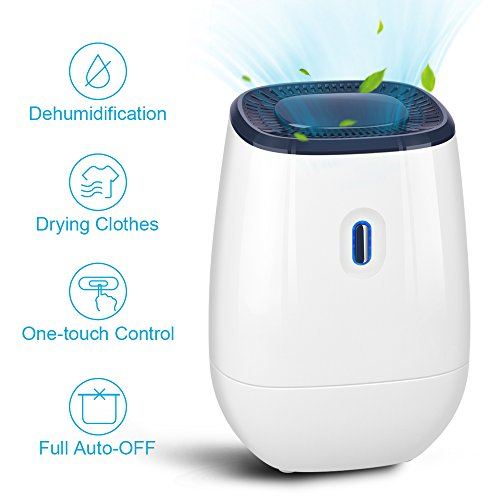 Dehumidifier - 41oz Capacity Electric Dehumidifier Portable Mini Air Dehumidifiers Auto Quiet up to 220 sq ft Anti Overflow Dehumidifier for Home Bathroom Bedroom Closet Office Basement