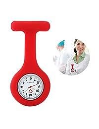 YESURPRISE Silicone Nurse Watch Quartz Clip on Brooch Fob Pin Pocket Watches Montre de poche Red