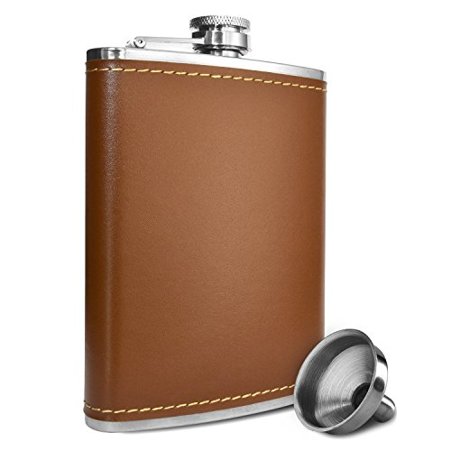 Premium 8 Oz Brown Soft Touch Leather Wrap Outdoor Adventure - Leak Proof - Flask 304 Stainless Steel Liquor Hip Flask by Future Hydrate - Includes Free Bonus Funnel (Brown Faux Leather Wrap, 8oz)
