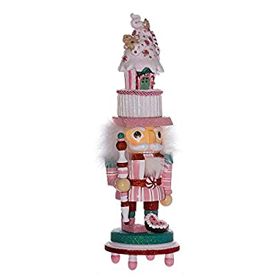 Kurt Adler 15-Inch Hollywood Nutcracker with Pink Candy House Hat and LED