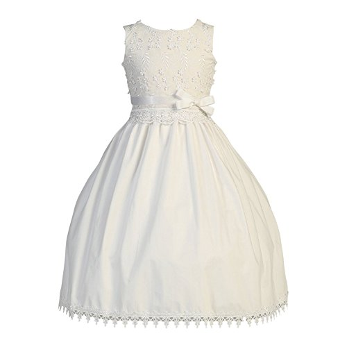 Smocked First Communion Dress - Lito Big Girls White Ribbon Embroidered Cotton Tea Length Communion Dress 8
