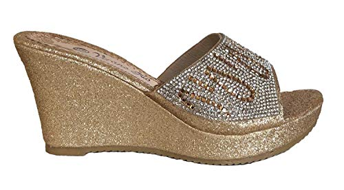 Verano Rio Womens Black Gold Silver Rhinestone Wedge Slip on Slides Sandals Shoes (6, Gold High Wedge)