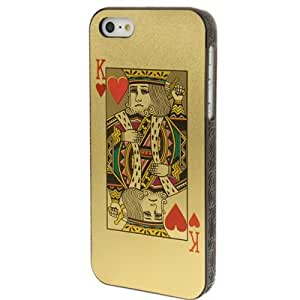 Playing Card Hearts K Series Pattern Plastic Protective Cover Case Funda Para iPhone 5 5S & (Golden)