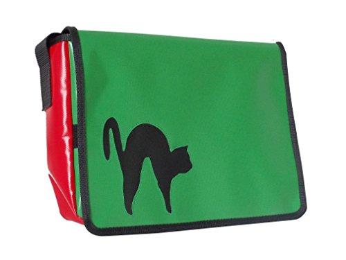 Goellerbags Umhänge-Tasche Katze Kater klein Schwarz/Rot/Smaragdgrün H23 B30 T10 J1uKopOlOs