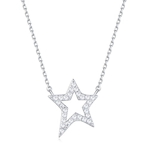 (Carleen 18K White Gold Plated 925 Sterling Silver Round CZ Cubic Zirconia Single Star Dainty Pendant Necklace for Women Girls with 15.75