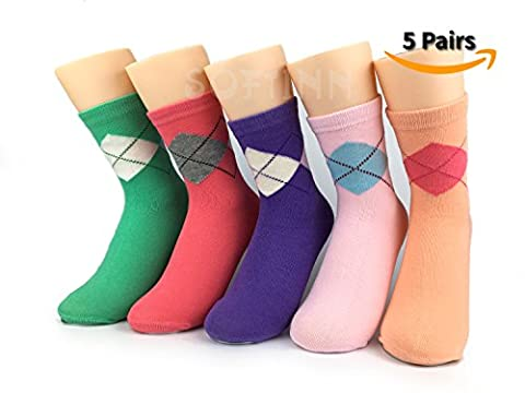 SOFTINN 5 Pairs Gift-Box-Packed Women Cotton Socks With Delicately Designed Art Patterns,One Size - Price Printed Gift Boxes