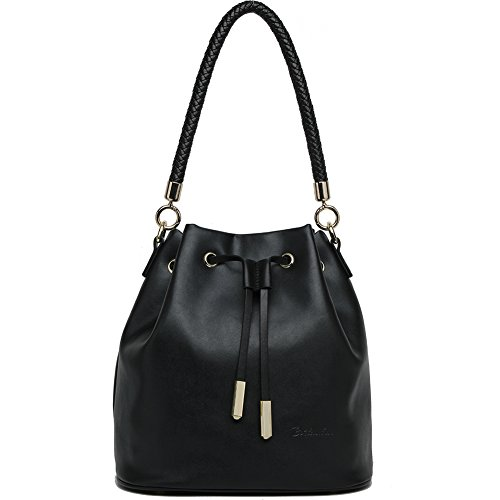 BOSTANTEN Leather Handbags Purses Drawstring Bucket Bag Tote Shoulder Crossbody Bags for Women