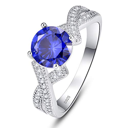 AVECON Created Blue Sapphire Rhodium-Plated Solid Sterling Silver Promise Ring for Her September Birthstone Rings (6)