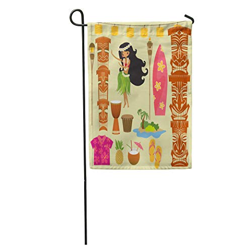 Semtomn Garden Flag Hawaii Symbols and Including Hula Dancer Tiki Gods Totem Pole Home Yard House Decor Barnner Outdoor Stand 28x40 Inches Flag ()