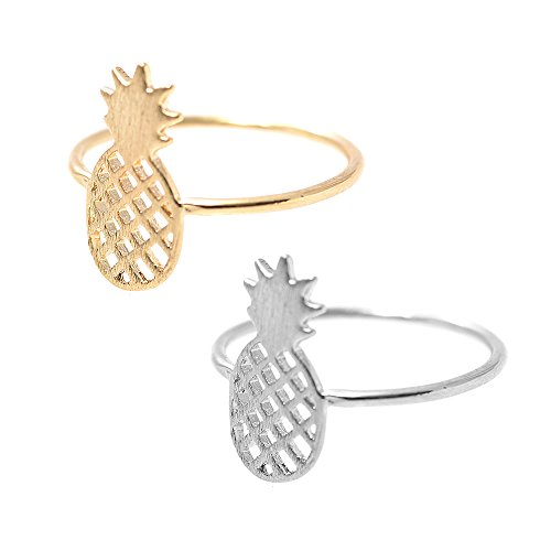 SpinningDaisy Handcrafted Brushed Metal Pineapple Fruit Ring