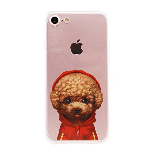 Hoody Case (Arunners Animal Pet Dog iPhone 7 / 8 Case Cover Crystal Paint Cartoon Poodle Teddy Design Clear Cute Kawayi Unique Funny Phone Cases Skin for iPhone 4.7 inch - Red Hoodie Poodle Teddy)