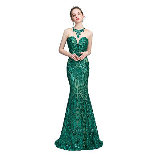 Leyidress Women's Sexy Sequins Trumpet Mermaid Dresses Green Evening Dress Long Party Prom Gown 4