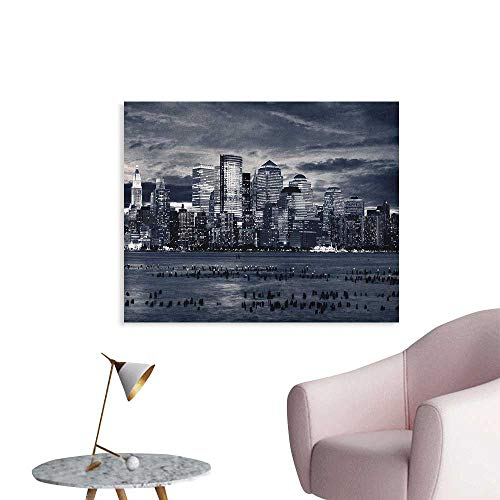 (Anzhutwelve City Wallpaper Dramatic View of New York Skyline from Jersey Side Clouds Buildings Cool Poster Charcoal Grey Black White W28)