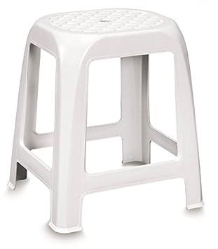 Badhocker design  Hocker mit Sitzfläche im Rattan-Design, Kunststoff, Weiß - ideal ...
