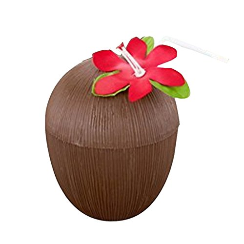 S WIDEN ELECTRIC Plastic Hawaii Party Coconut Cup,1 or 12PCS to Sell,with Flower Straws, Especially Suitable for the Summer Seaside -