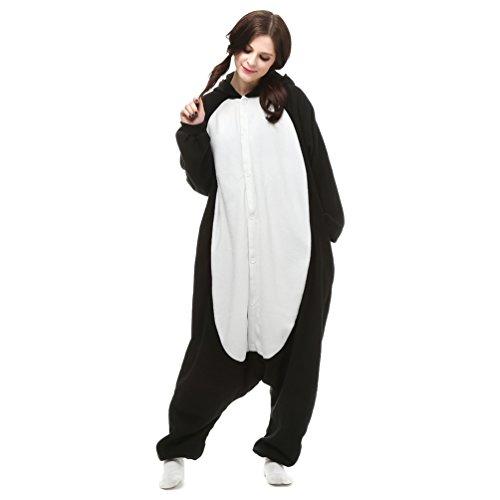 AGOLOD Tutina per adulti Unisex Pigiama Kigurumi in Pile per adulti Pinguino Nero