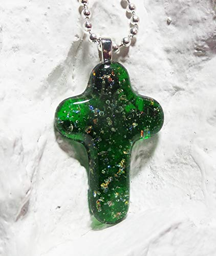 Fused Glass Emerald Green Dichroic Cross Handmade Crafted Art Pendant w Necklace