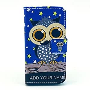LZX Owl Pattern PU Leather Case with Stand and Card Slot for iPhone 4/4S