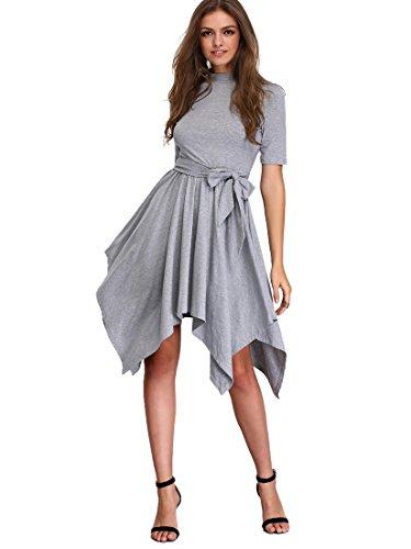 Buy asymmetrical belted dress - 8