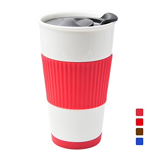 UDMug Car Commuter Travel Coffee Ceramic Cup with Spill Proof Slider Lid, Silicone Sleeve & Built-In Coaster, 14 fl.oz (Coral)