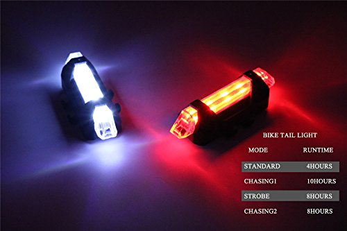 Outair USB Rechargeable Bicycle Light Front And Tail Set 5 LEDs 4 Modes Head Back Bike Flashing Safety Warning Lamp (Red&White) by Outair (Image #7)