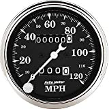 Auto Meter 1796 Old Tyme Black 3-1/8-Inch 120 mph In-Dash Mechanical Speedometer