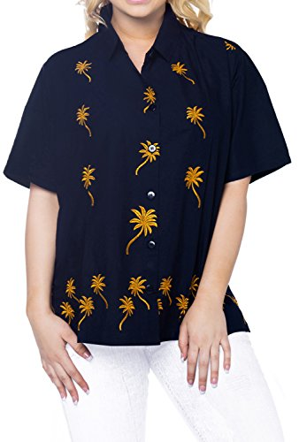 La Leela Smooth Rayon Vacation Short Sleeves Sales Blouses Female Outfits Boho Festival Resort Tank Embroidered Floral Cotton Flower N_Blue S