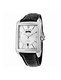 Maurice Lacroix Pontos Rectangulaire Day Date Automatic Silver Dial Black Leather Mens Watch PT6237-SS001-13E