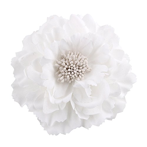 Yamalans Women Simulation Floral Flowers Hairpin Hair Clip Brooch Pins Gift White (Claw Brooch)