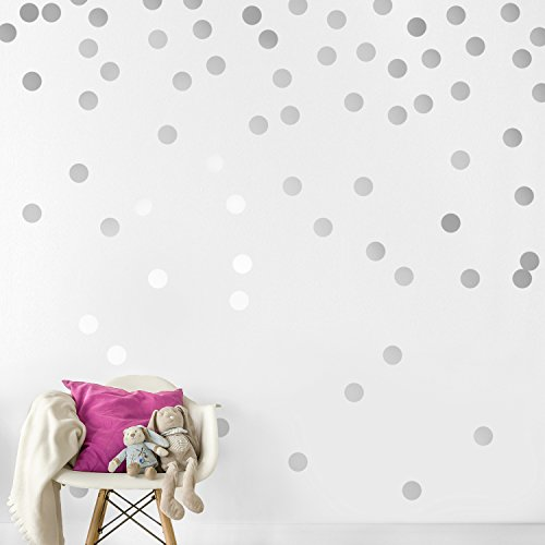 Silver Wall Decal Dots (200 Decals) | Easy Peel & Stick + Safe on Walls Paint | Removable Metallic Vinyl Polka Dot Decor | Round Circle Art Glitter Sayings Sticker (Metallic Wall)