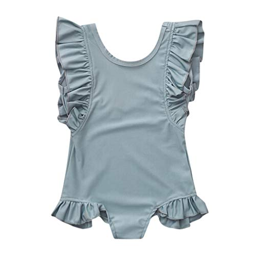 Baby Girl Casual Romper Swimwear Ruffles Sleeveless Solid O-Neck Swimsuit Summer (Green, Recommended Age:12-18 Months)