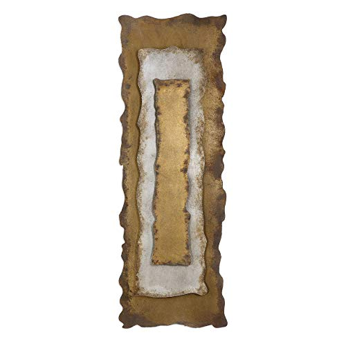 "2 Bronze, Silver and Gold Oxidized 3-Dimensional Metal Wall Panel 60"" ()"