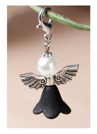 Fun Charm Zipper Pull - Lovely Guardian Angel Charm with Faux Pearl Head, Silver Wings & Black Dress - Embellish Your Purse, Also for DIY Arts & Craft Charm, Pendant, Zipper Pull Charm, Backpack, KandyCharmz 247