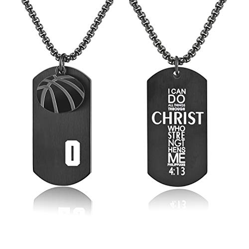 - Bible.Shop Men's Basketball Player Number 0 Stainless Steel Cross Dog Tag Pendant I Can Do All Things Bible Verse Necklace (Black)