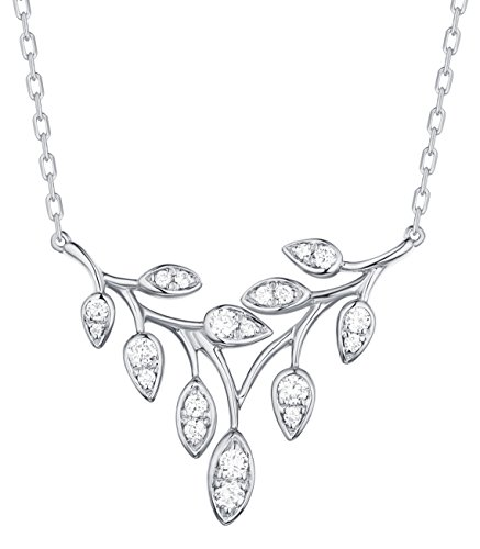Prism Jewel 0.25 Carat G-H/I1 Natural Diamond Olive leaf Delicate Chain Necklace, 14k White Gold ()