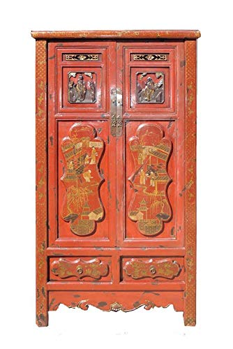 Gold Flower Painting Carving Armoire Red Chinese Antique Cabinet Awk2343 ()