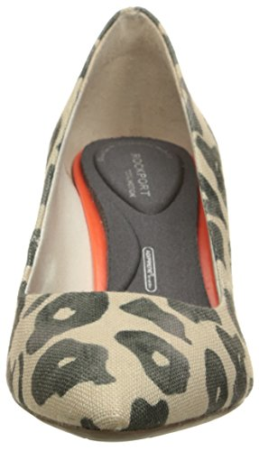 Rockport Donna Total Motion 75mm Pointy Pump Nero Leopard Canvas