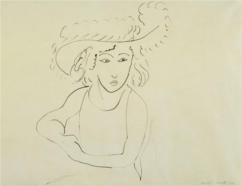 Oil Painting 'The Plumed Hat 1919 By Henri Matisse', 30 x 39 inch / 76 x 99 cm , on High Definition HD canvas prints is for Gifts And Bar, Nursery And Study Room Decoration, diy
