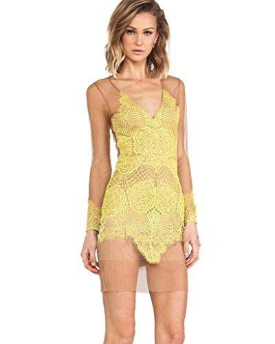 Minetom Damen Sexy Durchsichtig Spitze Abendkleider Prom PartyKleid ...