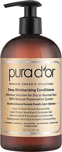 PURA D'OR Deep Moisturizing Premium Organic Argan Oil & Aloe Vera Conditioner, 16 Fluid Ounce