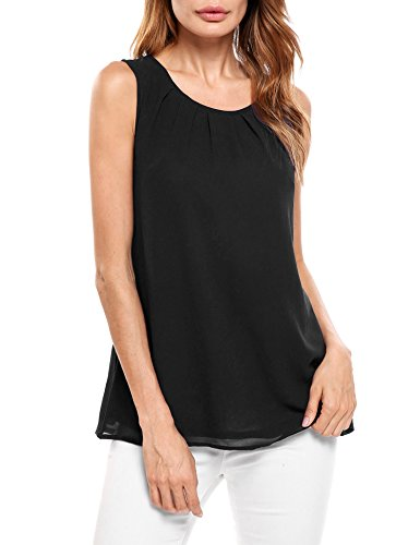 Beyove Scoop Neck Pleated Front Blouse Shirt Chiffon Tank