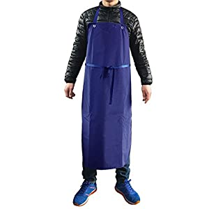 Industrial Apron Heavy Duty Vinyl Waterproof Fish Cleaning Meat Work Lab Work Dirty Work Carpenter Factory Long Straps