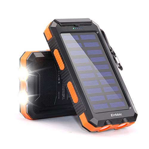 20000mAh Solar Power Bank Solar Charger Waterproof Portable Battery Charger with Compass for iPad iPhone Android Cellphones (Black & Orange)