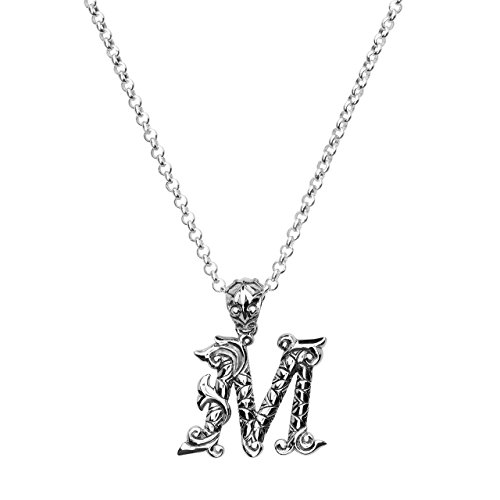 Silver Phantom Jewelry Initial Letter M Custom Pendant Necklace in Sterling Silver Personalized for Men & Women by (Cast Sterling Silver Custom)