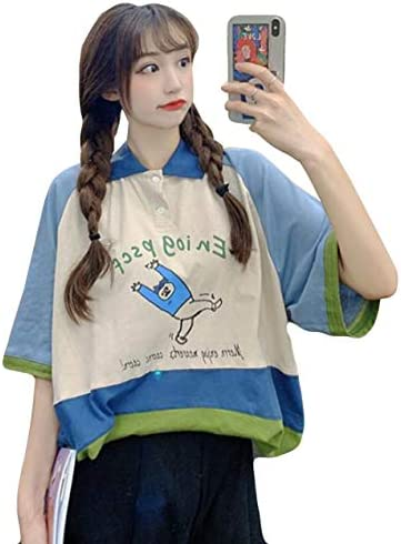 Alhylaレディース ポロシャツ 半袖 ボーダー柄 ゆったり tシャツ ゴルフシャツ 大きいサイズ 夏 トップス スポーツ シャツ ポロシャツ復古風