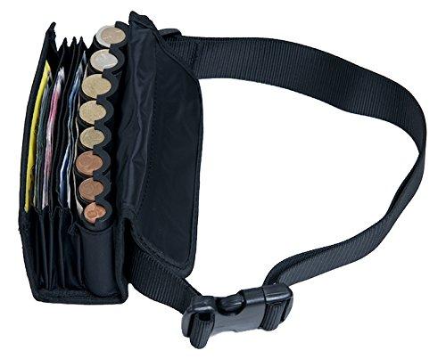 PORTAFOGLIO DI CAMERIERE - MULTICOMPARTO, incl. cintura, portafoglio e moneta holder, incl. euro gettoniera sorter. NERO 3s sport