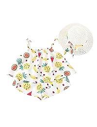 Jugendhj Babysuit ��������Toddler Baby Kids Girls Fruit Strap Tops Shorts Outfits Hat Casual Clothes Set