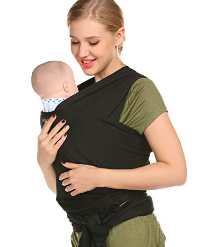 Ekouaer Baby Wrap Carrier Sling Baby Slings and Wraps for Infants and Newborn Black