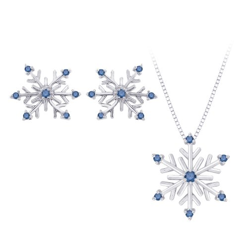 Blue Diamond ''Snow Flake'' Earrings and Pendant Necklace in Sterling Silver (1/5 (Blue Diamond Snowflake Pendant)