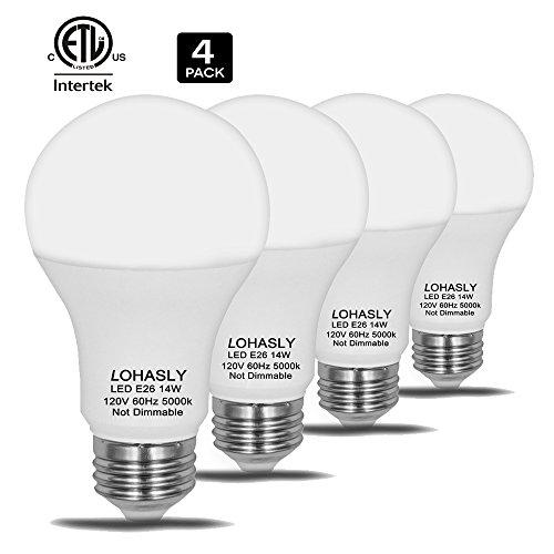 LOHASLY LED Bulb, 100W - 150W Light Bulbs Equivalent, 14W A19 LED Bulbs, 1600 Lumens 5000K Daylight White, 270 Degree Beam, E26 Medium Screw Base, ETL listed, Not-Dimmable (Pack of 4)